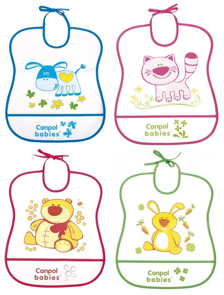 """Мягкий пластиковый нагрудник (материал - PEVA (полиэтиленвинилацетат), не содержит ПВХ), на завязке, с рисунком и карманом для остатков пищи во время кормления ребенка), 2/919, """"Canpol babies"""""""