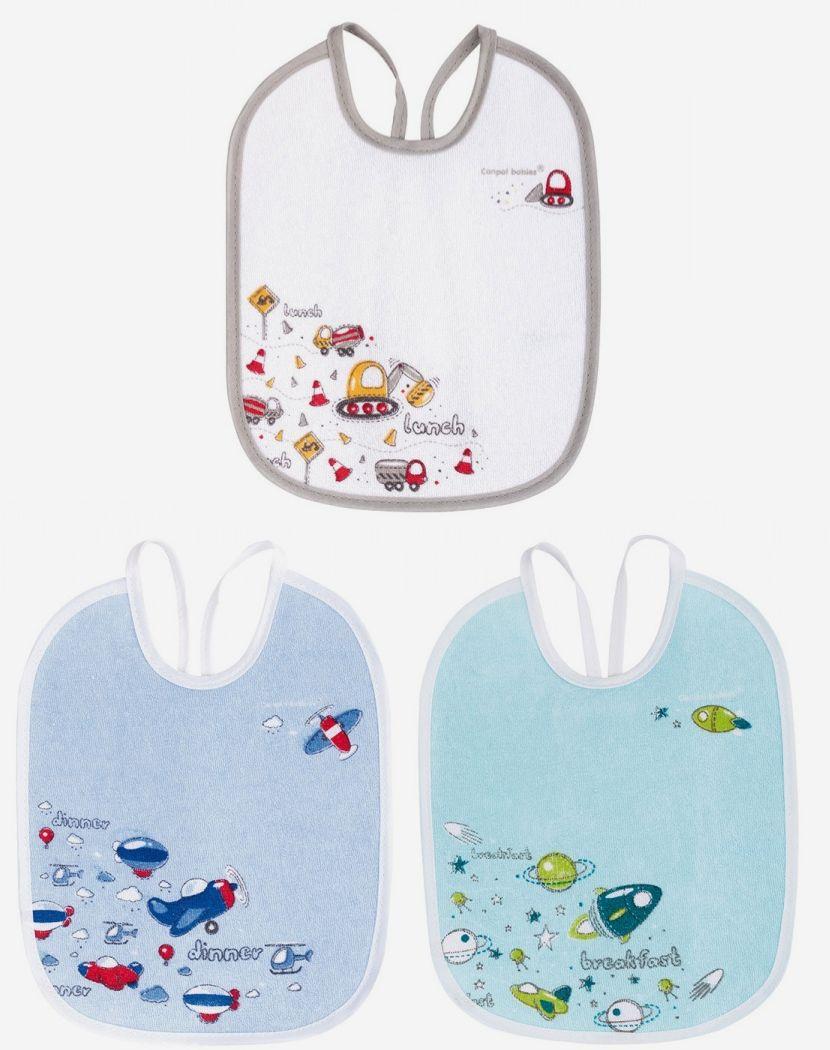 """Махровый нагрудник (3 штуки в комплекте, двухслойный, наружная сторона - хлопок, внутренняя - PEVA (полиэтиленвинилацетат), не содержит ПВХ), на завязке, с рисунком, дизайн """"Машины""""), 2/964, """"Canpol babies"""""""