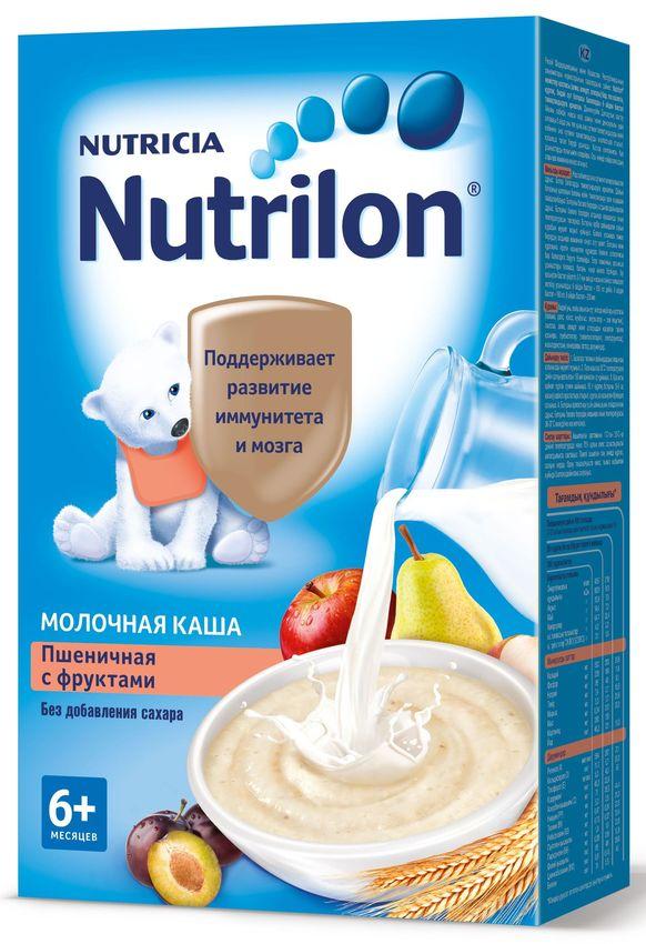"""""""Нутрилон"""" каша """"Nutrilon"""" молочная """"Пшеничная с фруктами"""" (без соли и сахара, с пребиотиками, на основе детской молочной смеси, с фруктовой добавкой из яблок, груш и слив) 225,0"""