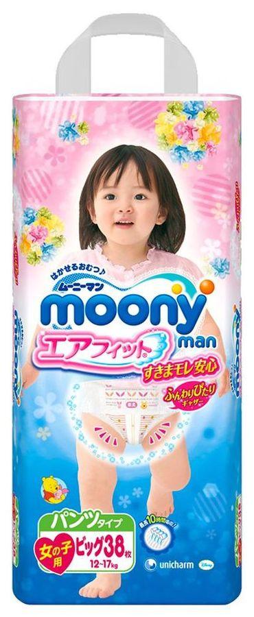 """Подгузники-трусики """"MOONY (12-17 кг) XL"""" 38 штук в упак., для девочек"""