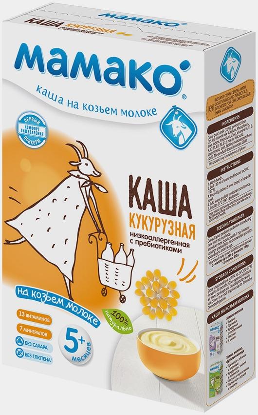 """МАМАКО"" каша молочная КУКУРУЗНАЯ на козьем молоке (низкоаллергенная, с пребиотиками, без соли и сахара) 200,0"