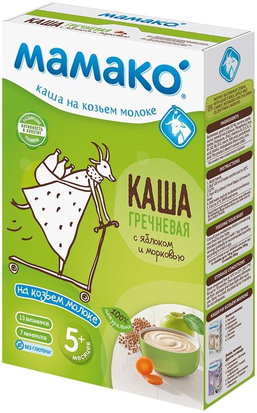"""""""МАМАКО"""" каша молочная ГРЕЧНЕВАЯ С ЯБЛОКОМ И МОРКОВЬЮ на козьем молоке (с пребиотическим эффектом, без соли) 200,0"""