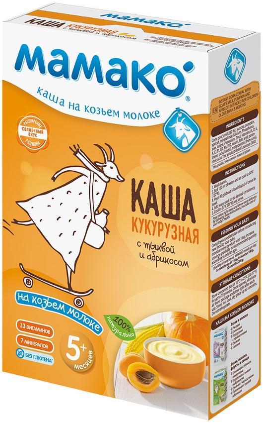 """""""МАМАКО"""" каша молочная КУКУРУЗНАЯ С ТЫКВОЙ И АБРИКОСОМ на козьем молоке (с пребиотическим эффектом, без соли) 200,0"""