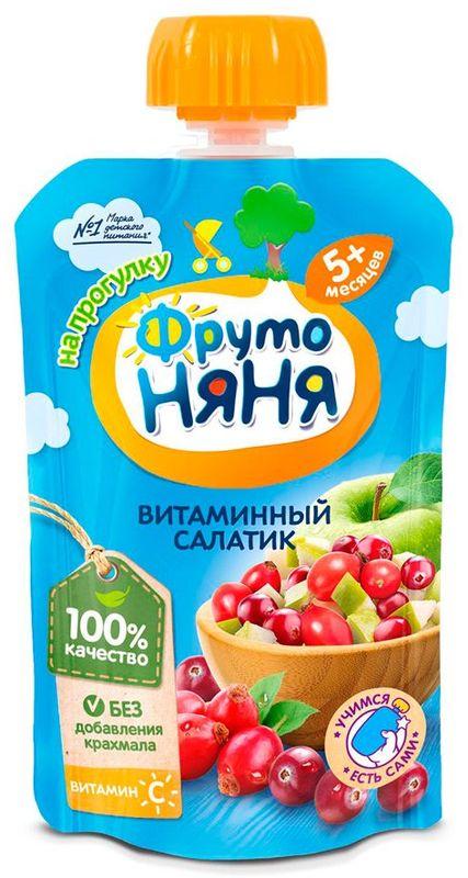 """Пюре """"Витаминный салатик (из яблок, шиповника и клюквы, с вит.С (без сахара))"""" 90,0 """"ФрутоНяня"""" (пауч-упаковка)"""