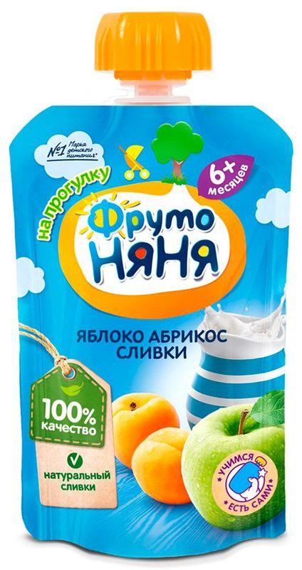 """Пюре """"Яблоко-Абрикос со сливками (НЕЖЕНКА)"""" 90,0 """"ФрутоНяня"""" (пауч-упаковка)"""