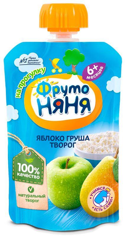 """Пюре """"Яблоко-Груша с творогом"""" 90,0 """"ФрутоНяня"""" (пауч-упаковка)"""