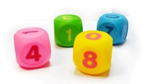 """Набор игрушек для ванны """"Кубики УЧИМ ЦИФРЫ"""" (с пищалкой, 4 штуки), 20319, """"ПОМА"""""""