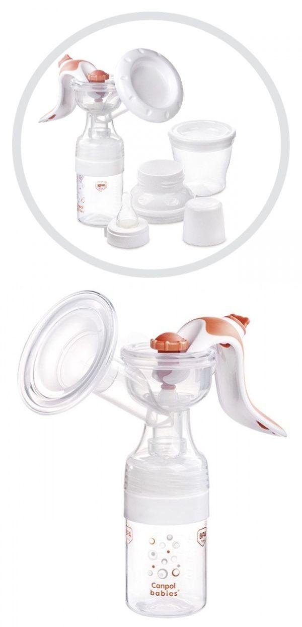 """Молокоотсос ручной """"EasyStart"""" (в комплекте: контейнер для хранения молока с крышкой, бутылочка для кормления с крышкой, соска силиконовая, принадлежности), 2-х режимный, с сумкой, 12/203, """"Canpol babies"""""""