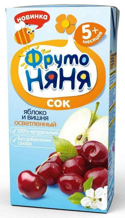"Сок ""Яблоко-Вишня (осветленный, без сахара)"" 200 мл ""ФрутоНяня"""