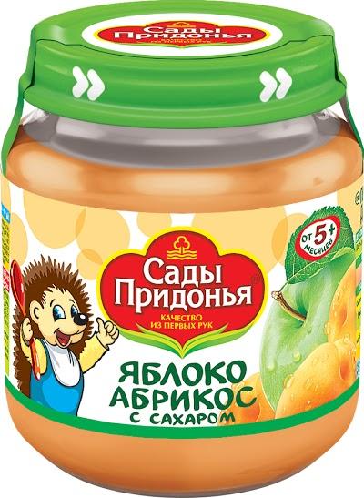 """Пюре """"Яблоко-Абрикос (с сахаром)"""" 120,0 """"Сады Придонья"""" (стеклобанка)"""