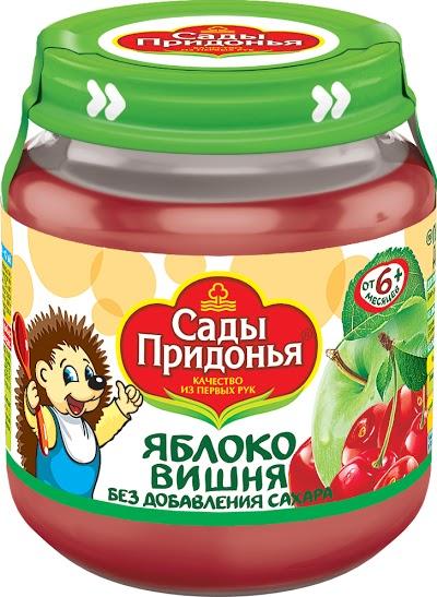 """Пюре """"Яблоко-Вишня (без сахара)"""" 120,0 """"Сады Придонья"""" (стеклобанка)"""