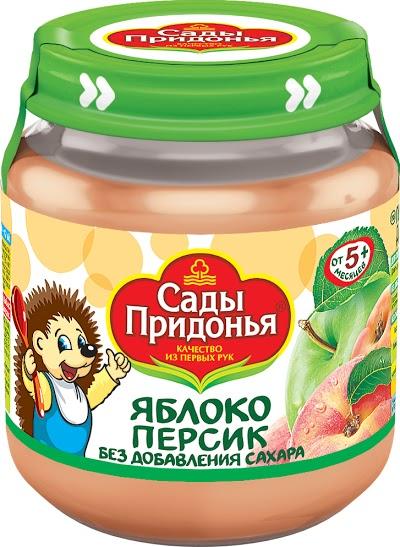 """Пюре """"Яблоко-Персик (без сахара)"""" 120,0 """"Сады Придонья"""" (стеклобанка)"""