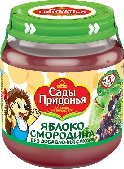 """Пюре """"Яблоко-Смородина черная (без сахара)"""" 120,0 """"Сады Придонья"""" (стеклобанка)"""