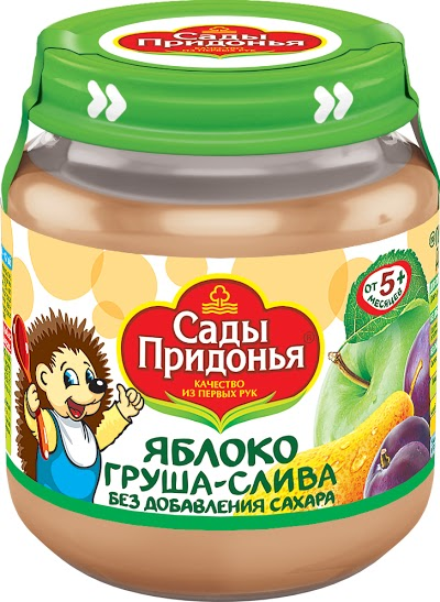 """Пюре """"Яблоко-Груша-Слива (без сахара)"""" 120,0 """"Сады Придонья"""" (стеклобанка)"""