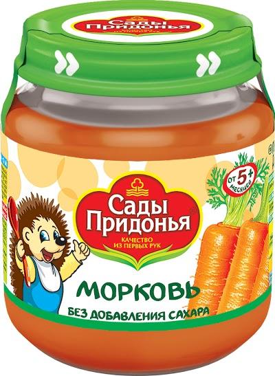 """Пюре """"Морковь без сахара"""" 120,0 """"Сады Придонья"""" (стеклобанка)"""