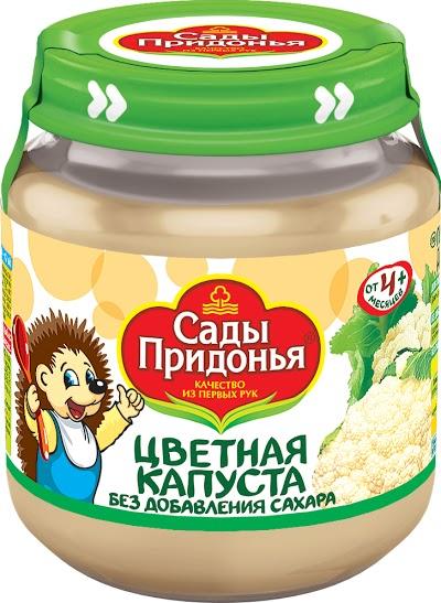 """Пюре """"Капуста цветная без сахара"""" 120,0 """"Сады Придонья"""" (стеклобанка)"""