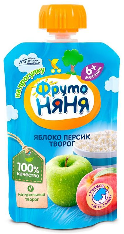 """Пюре """"Яблоко-Персик с творогом (без сахара)"""" 90,0 """"ФрутоНяня"""" (пауч-упаковка)"""