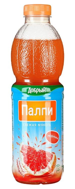 """ГРЕЙПФРУТ. Напиток сокосодержащий с соком грейпфрута и мякотью грейпфрута и апельсина 450 мл """"Добрый Палпи (Pulpy)"""""""