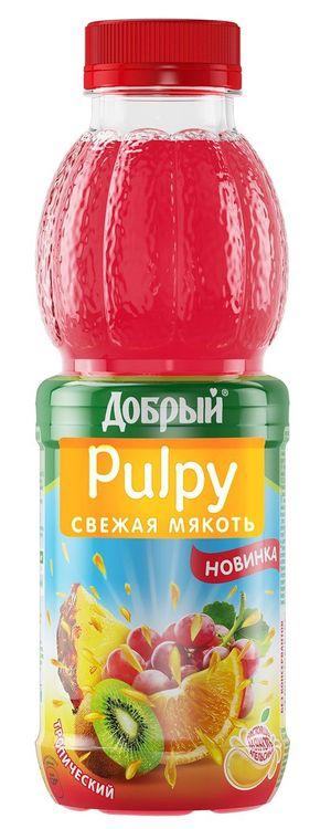"""ТРОПИЧЕСКИЙ. Напиток сокосодержащий из смеси фруктов с мякотью апельсина 450 мл """"Добрый Палпи (Pulpy)"""""""