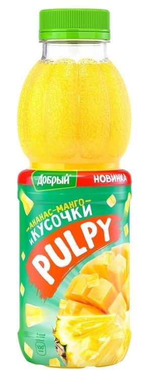 """АНАНАС-МАНГО. Напиток сокосодержащий с соком и кусочками ананаса, пюре из манго 450 мл """"Добрый Палпи (Pulpy)"""""""