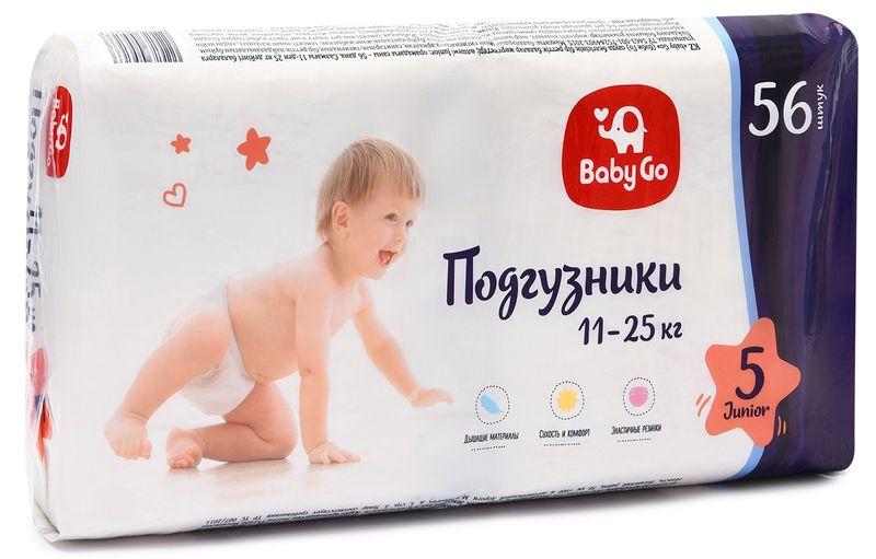 """Подгузники """"baby Go"""" №5 (11-25 кг) Junior, 56 штук в упак."""