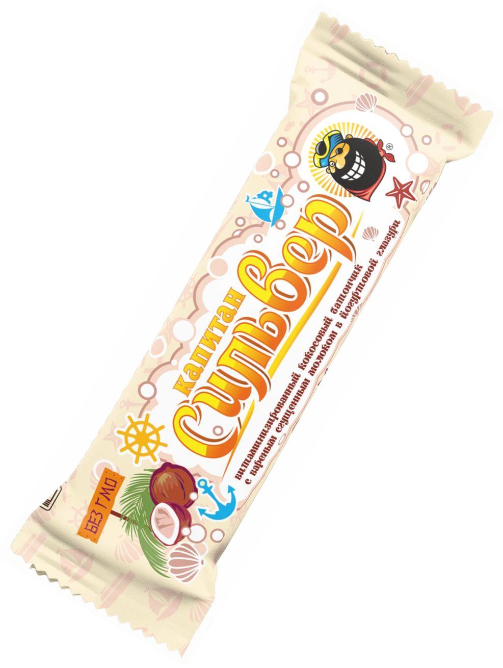 """""""Капитан Сильвер"""" (батончик кокосовый с вареным сгущенным молоком в йогуртовой глазури витаминизированный) 50,0"""