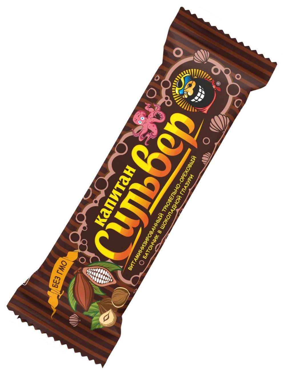 """""""Капитан Сильвер"""" (батончик трюфельно-ореховый в шоколадной глазури витаминизированный) 50,0"""