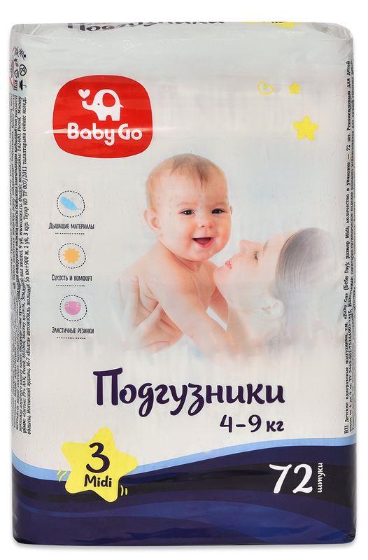 """Подгузники """"baby Go"""" №3 (4-9 кг) Midi, 72 штуки в упак."""