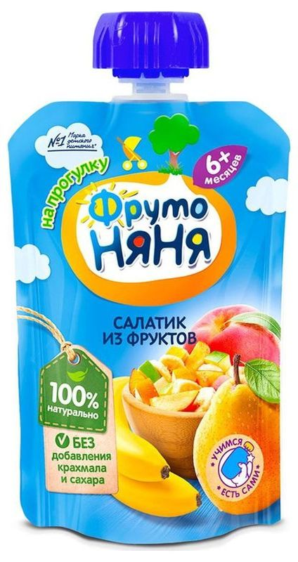"Пюре ""Салатик из фруктов (банан, груша, яблоко, персик (без сахара))"" 90,0 ""ФрутоНяня"" (пауч-упаковка)"