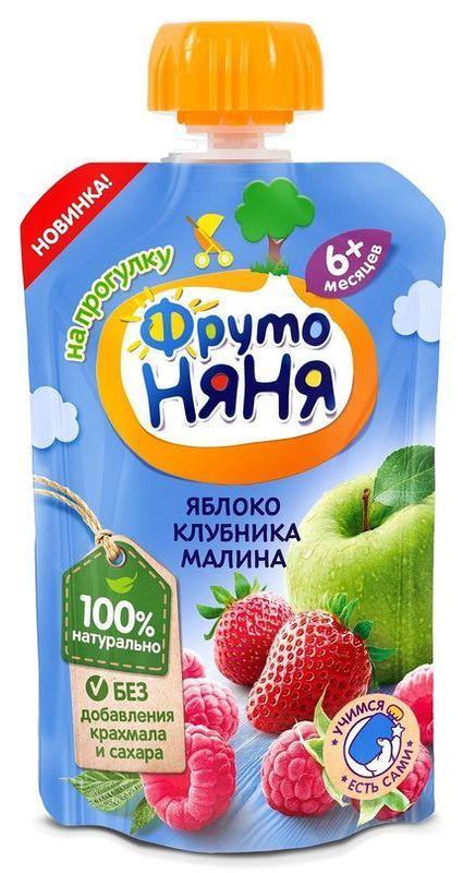 """Пюре """"Десерт из яблок, клубники и малины"""" 90,0 """"ФрутоНяня"""" (пауч-упаковка)"""