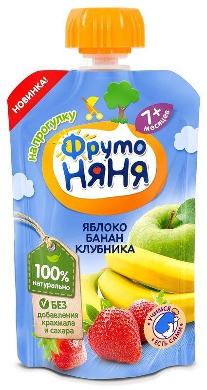 """Пюре """"Десерт из яблок, бананов и клубники"""" 90,0 """"ФрутоНяня"""" (пауч-упаковка)"""