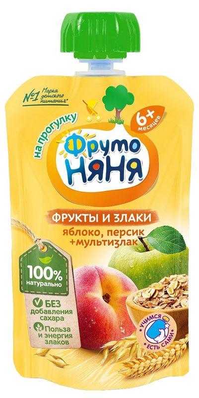 """Пюре ФРУКТЫ и ЗЛАКИ """"Яблоко, персик и мультизлак (без сахара)"""" 130,0 """"ФрутоНяня"""" (пауч-упаковка)"""