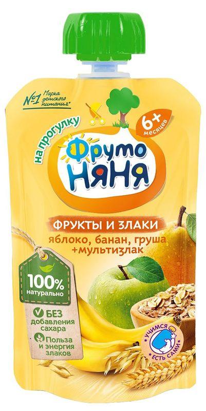 """Пюре ФРУКТЫ и ЗЛАКИ """"Яблоко, банан, груша и мультизлак (без сахара)"""" 130,0 """"ФрутоНяня"""" (пауч-упаковка)"""