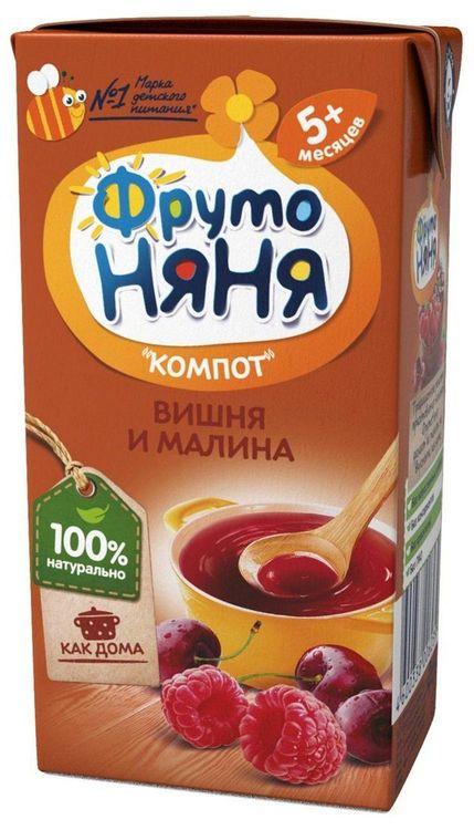 """Компот """"Вишня и малина"""" 200 мл """"ФрутоНяня"""""""