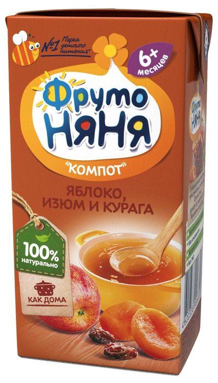 "Компот ""Яблоко, изюм и курага (без сахара)"" 200 мл ""ФрутоНяня"""