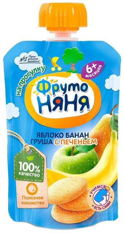 """Пюре """"Яблоко, банан, груша с печеньем"""" 90,0 """"ФрутоНяня"""" (пауч-упаковка)"""