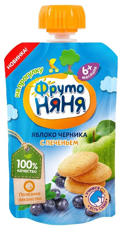 """Пюре """"Яблоко, черника с печеньем"""" 90,0 """"ФрутоНяня"""" (пауч-упаковка)"""