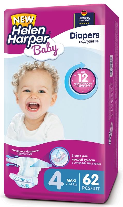 """Подгузники """"Helen Harper Baby"""" №4 (7-14 кг) Maxi, 62 штуки в упак."""