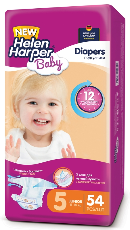 """Подгузники """"Helen Harper Baby"""" №5 (11-18 кг) Junior, 54 штуки в упак."""