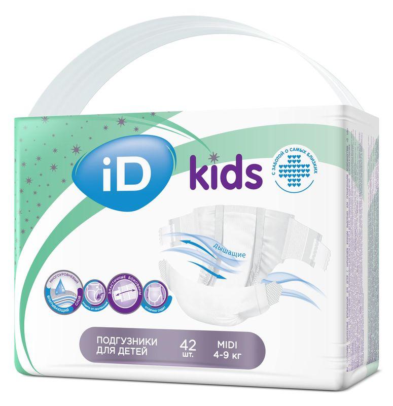 """Подгузники """"iD kids"""" №3 (4-9 кг) Midi, 42 штуки в упак."""